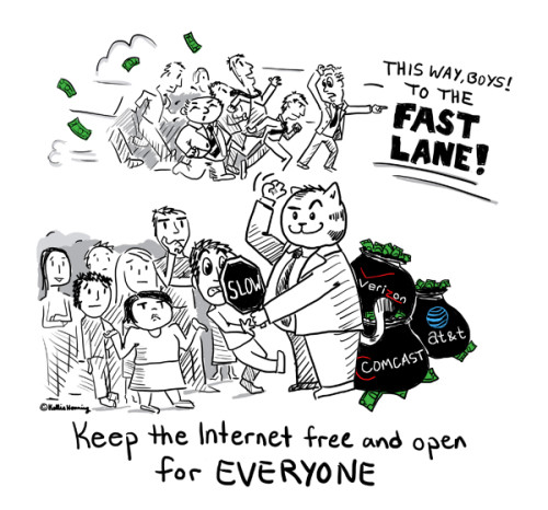 Digital Black And White Cartoon Panel Of Fat Cat Businessman Slowing Down Regular Internet Users Allowing Businessmen In Fast Lane Fueled By Money