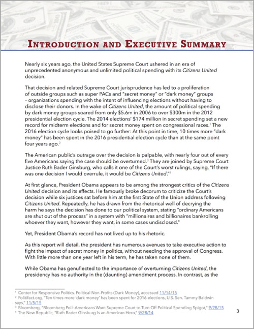 "Print Report Page Introduction And Executive Summary For ""A Legacy Of Inaction: President Obama And Secret Money In Politics"""