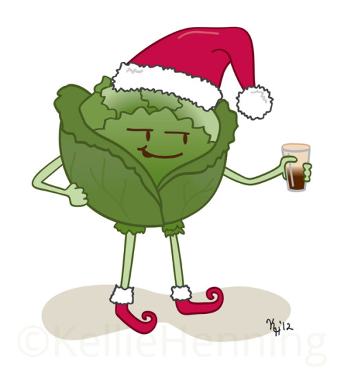 Digital Illustration Of Cartoon Green Cabbage With Arms Legs And Face Holding A Beer Wearing Santa Hat And Red Shoes