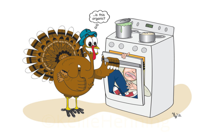 "Digital Illustration Of Cartoon Turkey Cooking Human In An Oven While Giving Thumbs Up And Asking ""is This Organic?"