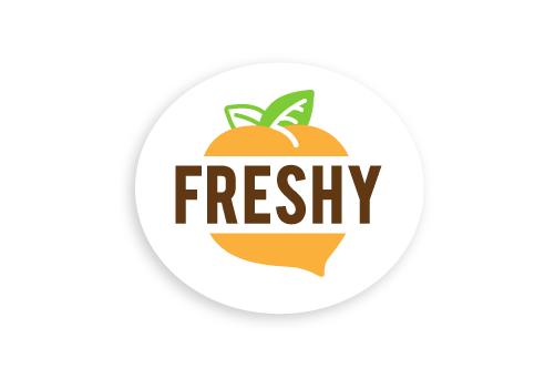 Full Color Oval Freshy Logo With Orange Peach Brown Text On White Oval