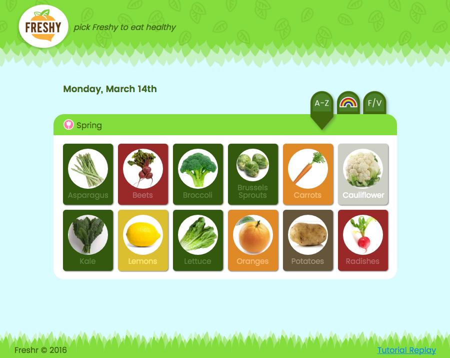 Freshy Desktop Website Showing Produce List For Spring Season