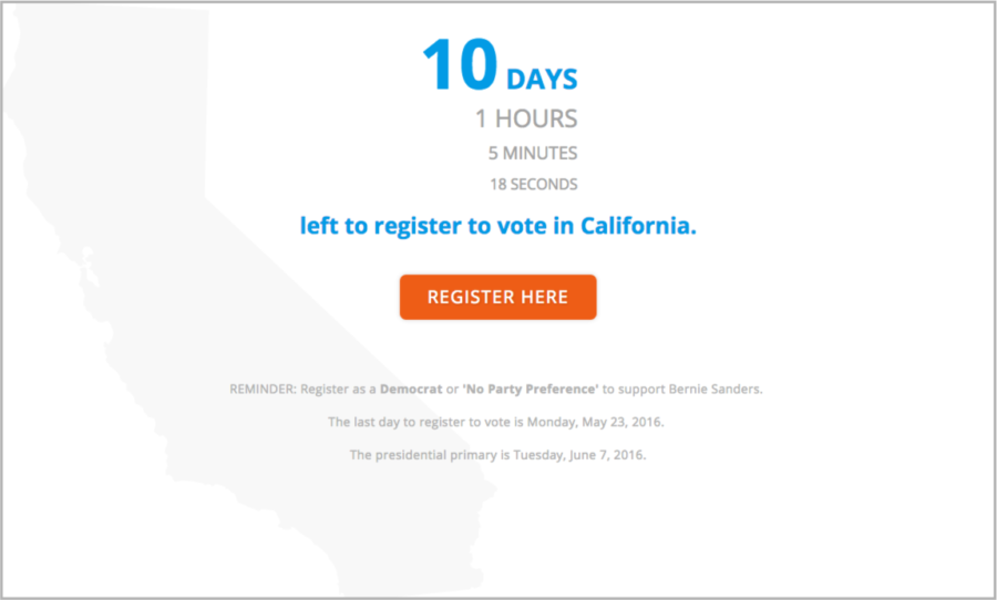 Come On Feel The Bern California Voter Registration Countdown Desktop Page
