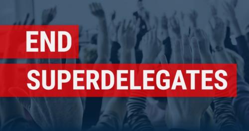 End Superdelegates Facebook Share Image Blue Hands-up Background White Text On Red Banner