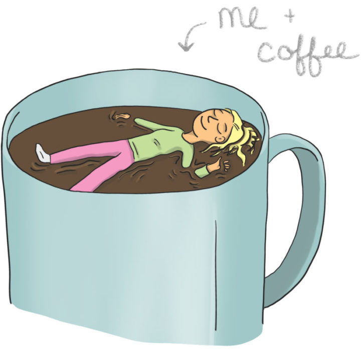 Digital Illustration Cartoon Girl Floating Happily In Big Coffee Mug