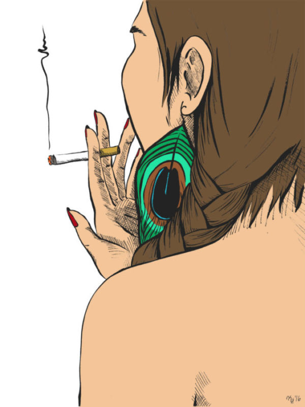 Full Color Digital Illustration Of Back Of Womans Head Smoking Cigarette With Peacock Feather Earring
