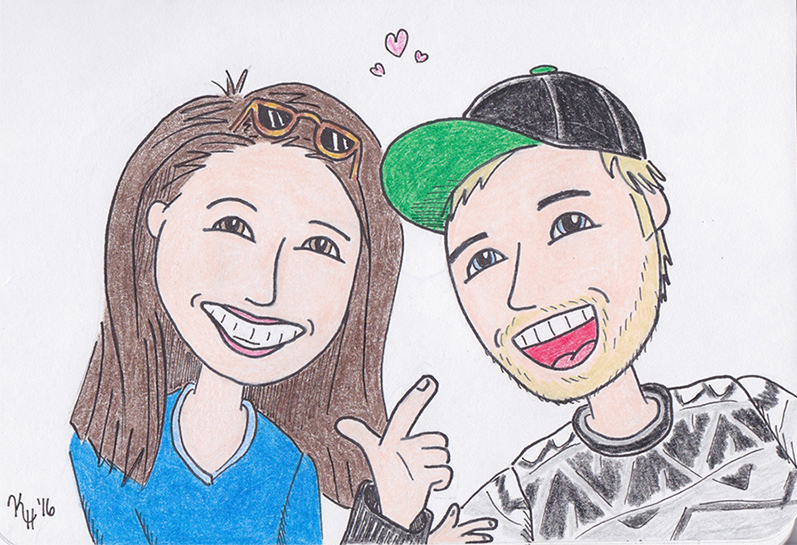 Black Pen Colored Pencil Smiling Goofy Couple Portrait