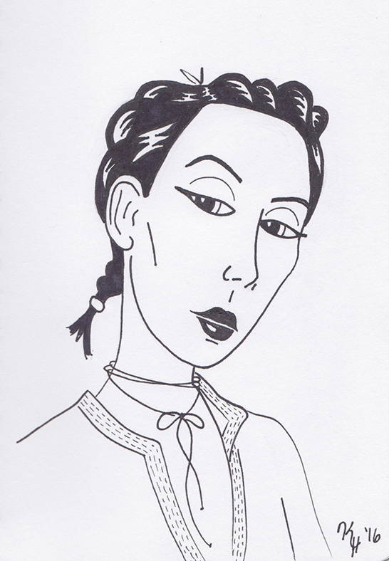 Black Pen Woman Attitude Portrait
