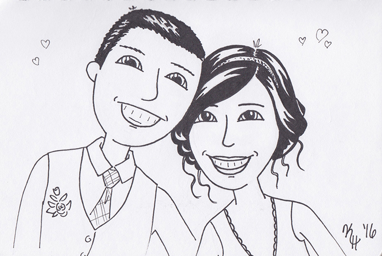 Black Pen Smiling Newlywed Couple Portrait