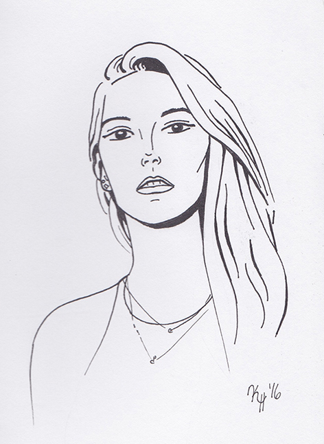 Black Pen Long Hair Woman Portrait