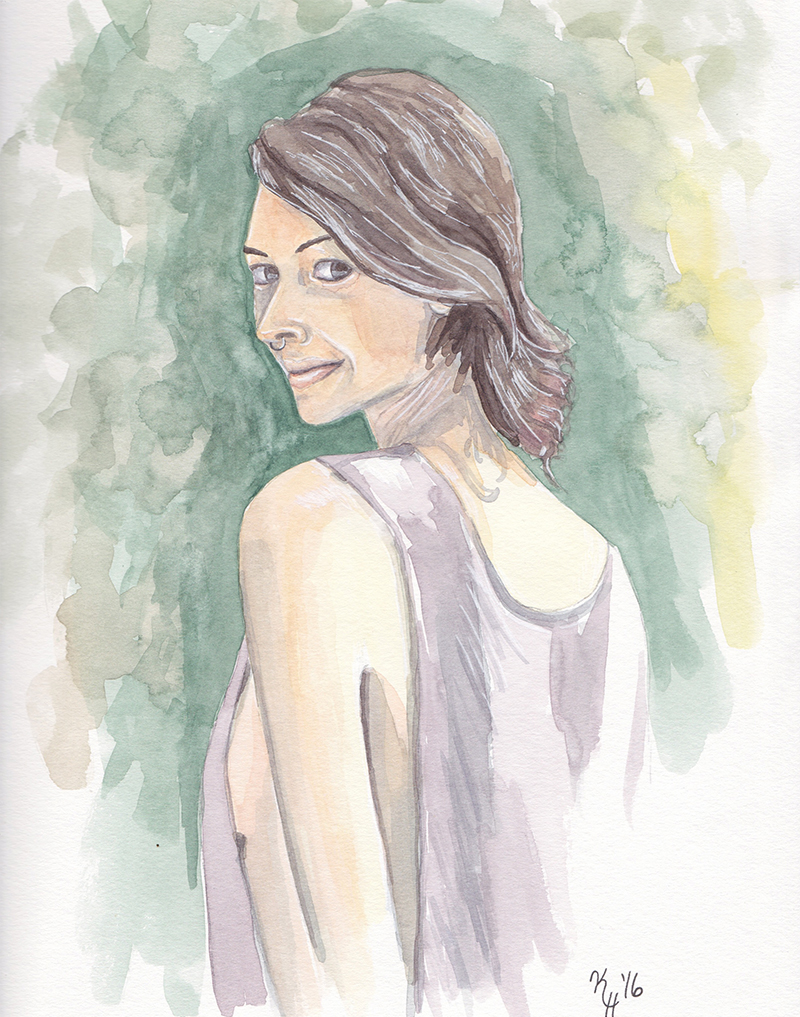 Watercolor Painting Woman Forest Portrait