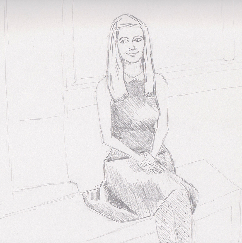 Pencil Sketch Woman Sitting Portrait
