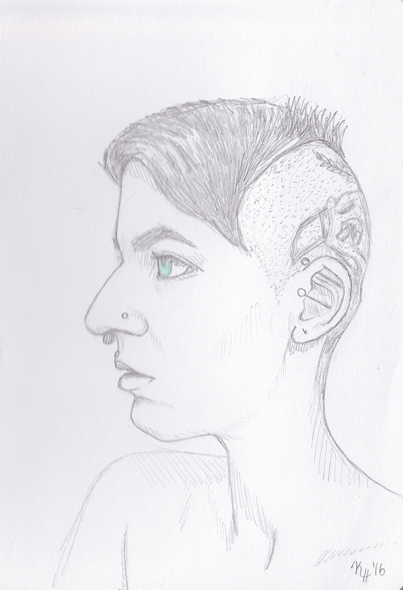 Pencil Sketch Green Eyed Punk Hair Woman Portrait