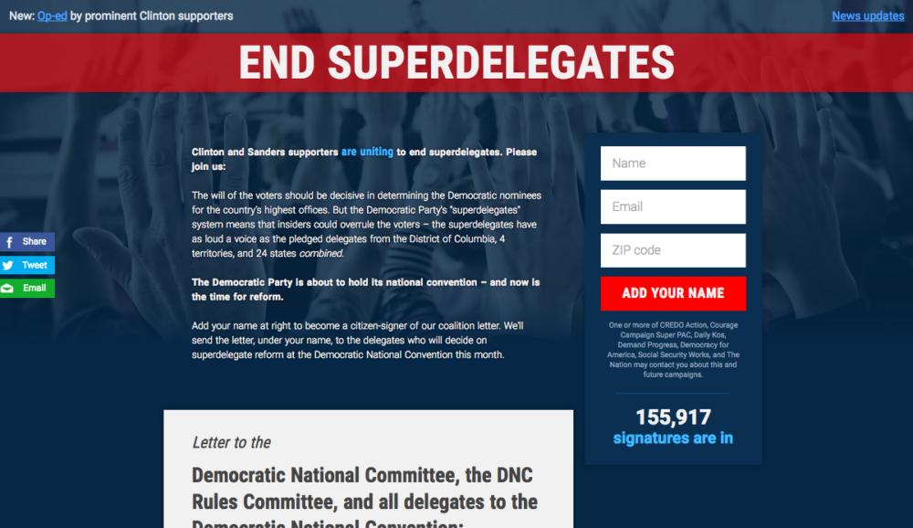 End Superdelegates Website Homepage