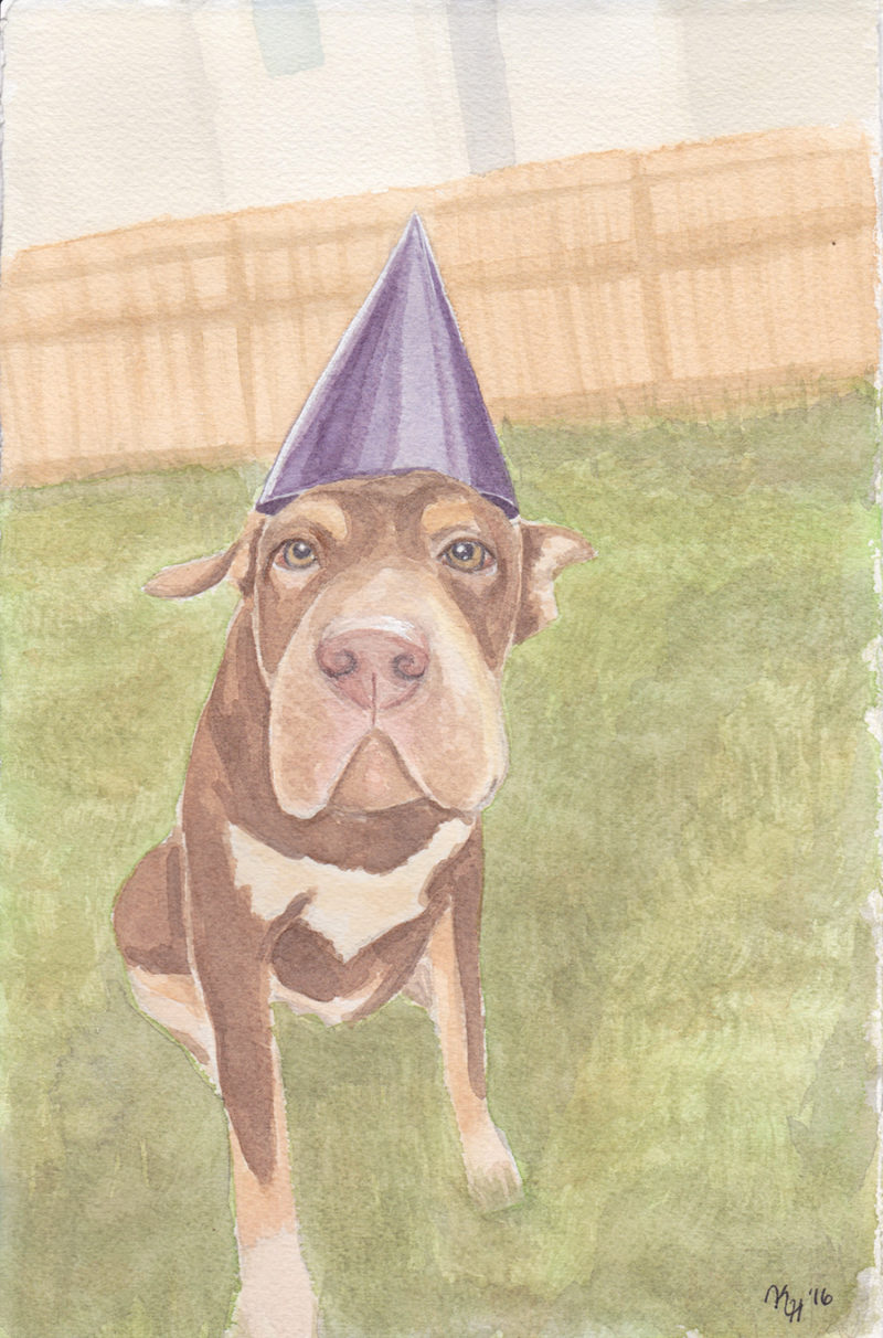 Watercolor Painting Pitbull Puppy Purple Party Hat