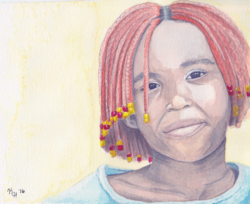 Watercolor Painting Black Girl Orange Braided Hair Smiling Portrait