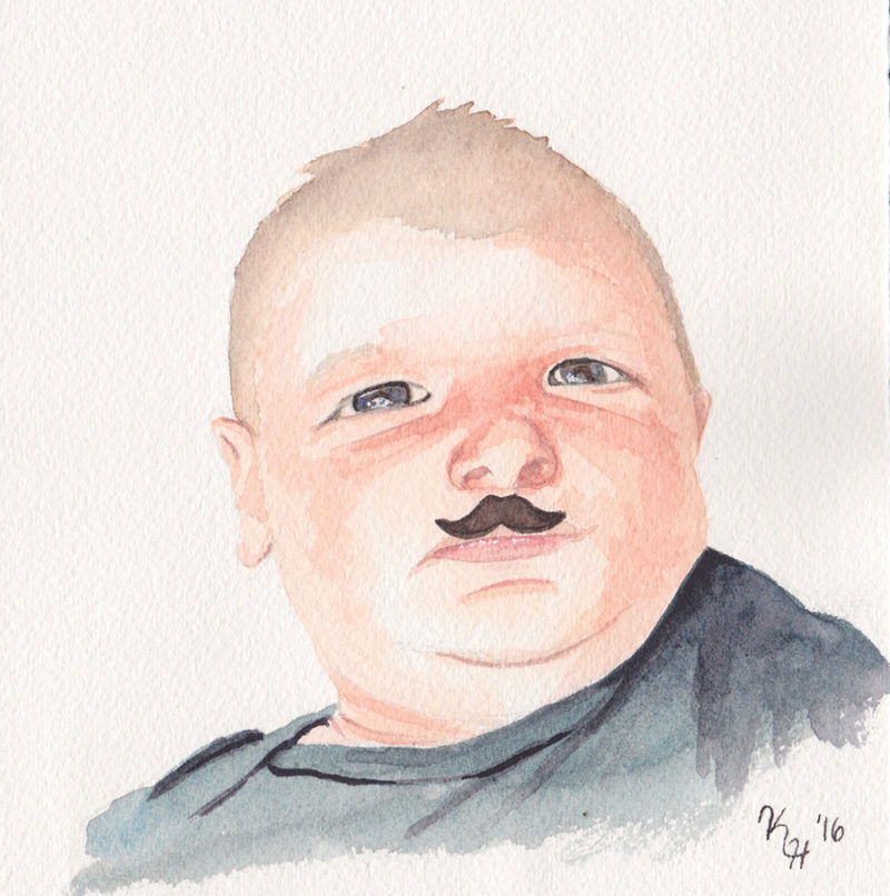 Watercolor Painting Baby Boy Mustache Portrait