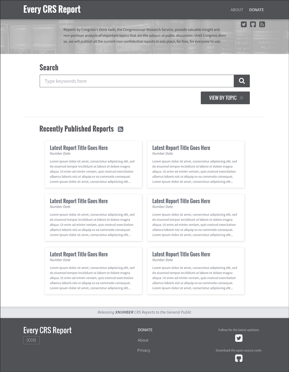 EveryCRSReport Black White Wireframes Homepage